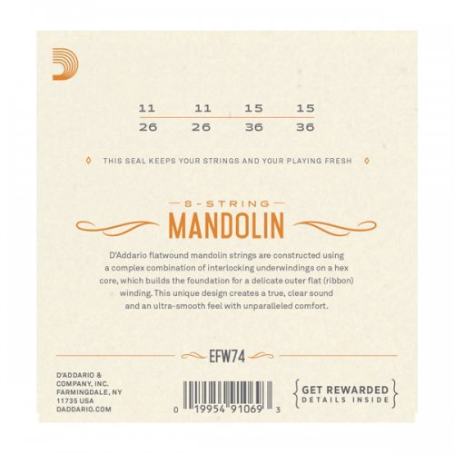 D'Addario EFW74 Flatwound Mandolin Strings, Phosphor ...