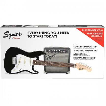 Squier Strat SS Electric Guitar Short Scale in Black