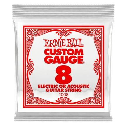 Ernie Ball 1008 .008 Plain Steel Electric or Acoustic Guitar String Single