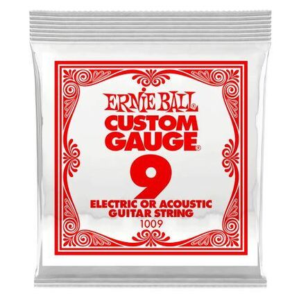 Ernie Ball 1009 .009 Plain Steel Electric or Acoustic Guitar String Single