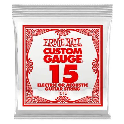 Ernie Ball 1015 .015 Plain Steel Electric or Acoustic Guitar String Single