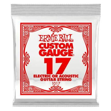 Ernie Ball 1017 .017 Plain Steel Electric or Acoustic Guitar String Single