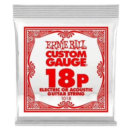 Ernie Ball 1018 .018 Plain Steel Electric or Acoustic Guitar String Single