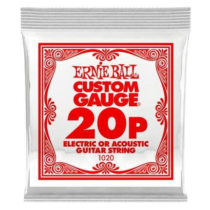 Ernie Ball 1020 .020 Plain Steel Electric or Acoustic Guitar String Single