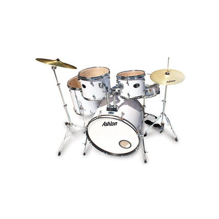 Ashton Tdr522Wh (White) Drum Kit 5-Piece With Cymbals & Stool