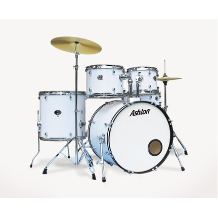Ashton TDR520WH (White) Drum Kit 5-Piece With Cymbals & Stool
