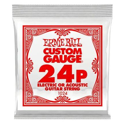 Ernie Ball 1024 .024 Plain Steel Electric or Acoustic Guitar String Single