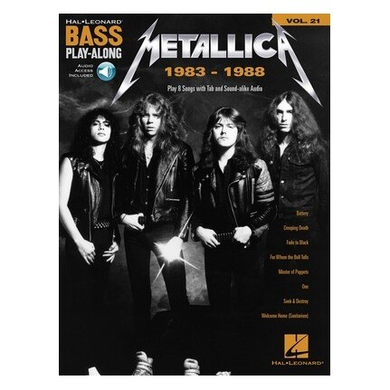 Metallica 1983-1988 Bass Play-Along Vol 21 Bk/Online Audio