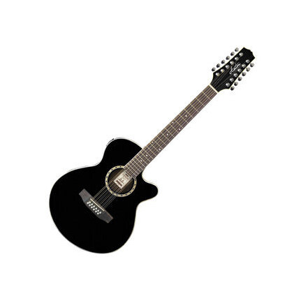 Ashton SL29/12CEQBK 12-String Acoustic-Electric Guitar With Pickup Black Finish