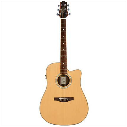Ashton D66SCEQNT Acoustic-Electric Dreadnought Guitar Solid Spruce Top Natural Finish
