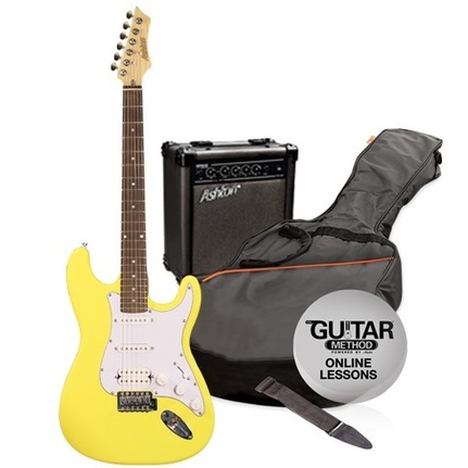 Ashton SPAG232YL Beginners Electric Guitar Pack Yellow