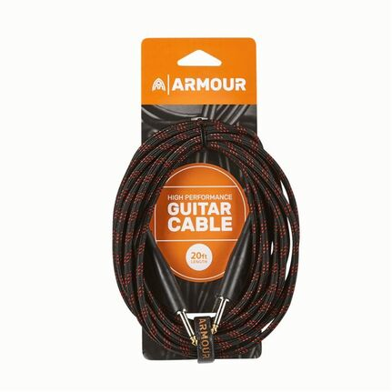Armour GW20R 20ft Guitar Cable Woven Red Stripe