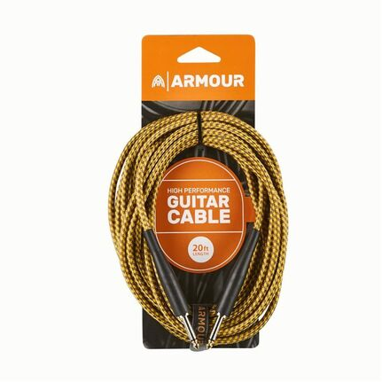 Armour GW20G 20ft Guitar Cable Woven Gold