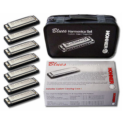 Hohner 91105 7 Pce Blues Harmonica Set In The Keys C, D, E, F, G, A, Ab