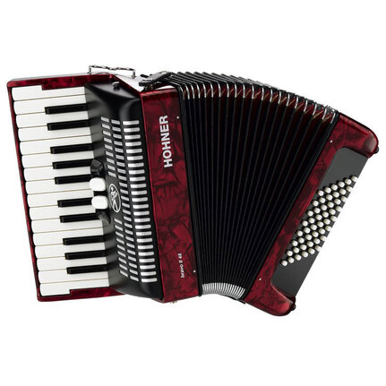 Hohner A1653 Bravo II 48 Bass Chromatic Accordion In Red Pearl