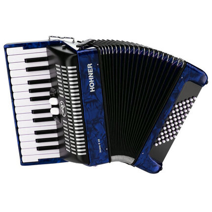 Hohner A1654 Bravo II 48 Bass Chromatic Accordion In Blue Pearl