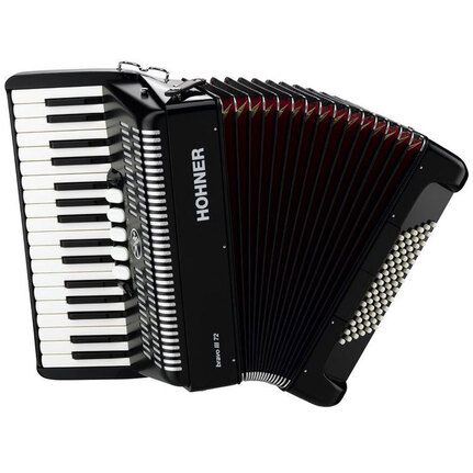 Hohner A1662 Bravo III 72 Bass Chromatic Accordion In Black