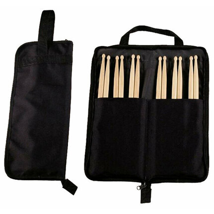 Maxtone Drum Stick Package - Stick Bag & 6-Pairs of 5A Wood Tip Drumsticks