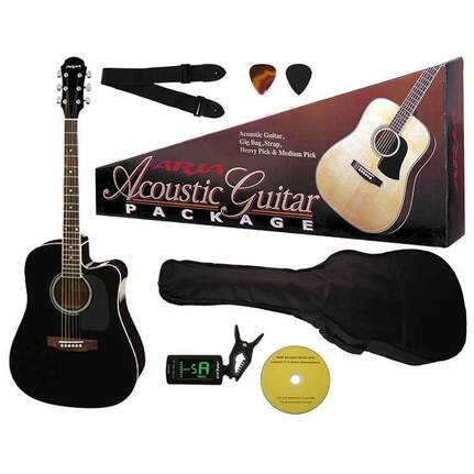 Aria AR003BK Prodigy Series Acoustic-Electric Guitar Package In Black
