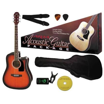 Aria AR003BS Prodigy Series Acoustic-Electric Guitar Package In Brown Sunburst