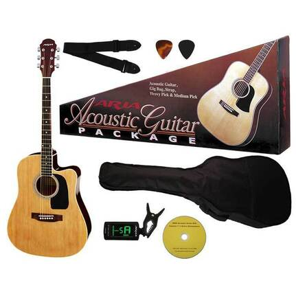 Aria AR003N Prodigy Series Acoustic-Electric Guitar Package In Natural