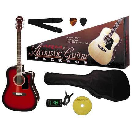 Aria AR003RS Prodigy Series Acoustic-Electric Guitar Package In Red Sunburst