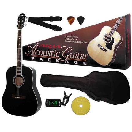 Aria ARAGPN003BK Prodigy Series Acoustic Guitar Package in Black