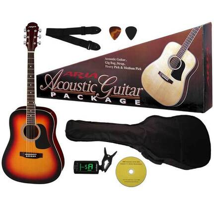 Aria ARAGPN003BS Prodigy Series Acoustic Guitar Package in Brown Sunburst