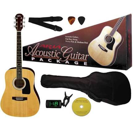 Aria ARAGPN003N Prodigy Series Acoustic Guitar Package in Natural