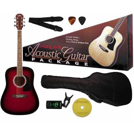 Aria ARAGPN003RS Prodigy Series Acoustic Guitar Package in Red Sunburst
