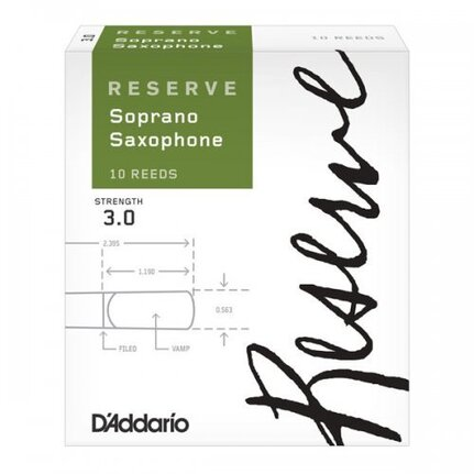 D'Addario Reserve Soprano Saxophone Reeds, Strength 3.0, 10-pack