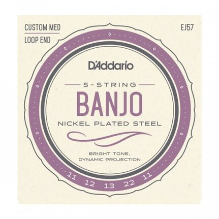 D'Addario EJ57 5-String Banjo Strings, Nickel, Custom Medium, 11-22