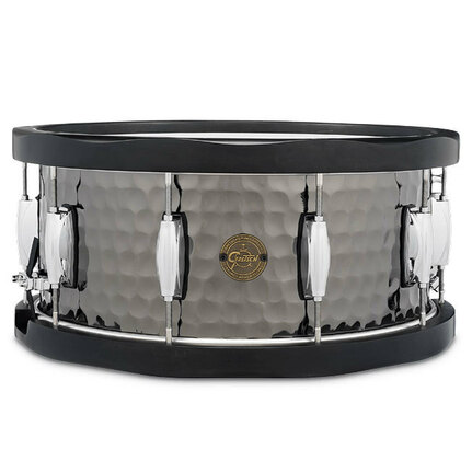 Gretsch Hammered Black Steel Series Snare Drum With Black Maple Hoops - 14 x 6.5""