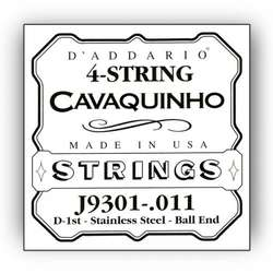 D'Addario J9301 Plain Steel Single Cavaquinho String, .011
