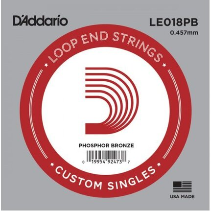 D'Addario LE018PB Phosphor Bronze Loop End Single String, .018