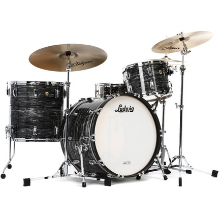 Ludwig Classic Maple 4 Piece Drum Kit Vintage Black Oyster