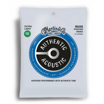 Martin MA500 Authentic Acoustic SP 92/8 Phosphor Bronze Extra Light 12 String Guitar String Set (10-47)