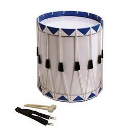 Opus Percussion Samba Drum White/Blue w/Carry Strap, Beaters (35cm X 43cm)
