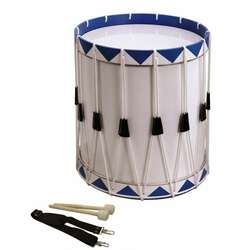Opus Percussion Samba Drum White/Blue w/Carry Strap, Beaters (40cm X 49cm)