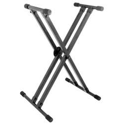 On Stage Lok-Tight Pro Double-X Ergo-Lok Keyboard Stand Steel Black