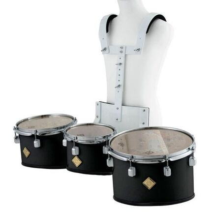 Marching Tenor Drum Trio Set Black with Carrier