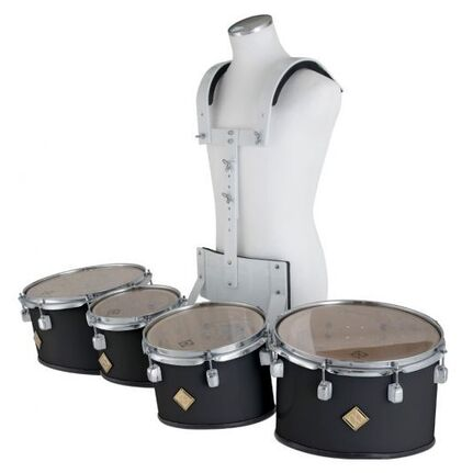 Marching Tenor Drum Quad Set White with Carrier