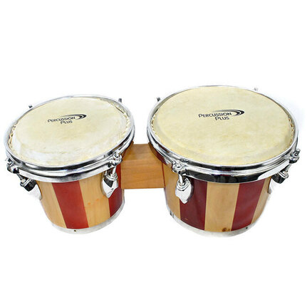 "Percussion Plus 6 & 7"" Wooden Bongos in 2-Tone Gloss Natural"