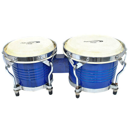 "Percussion Plus Deluxe 6 & 7"" Wooden Bongos in Gloss Blue"