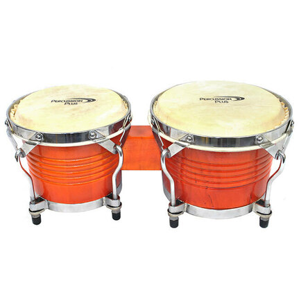 "Percussion Plus Deluxe 6 & 7"" Wooden Bongos in Gloss Natural"