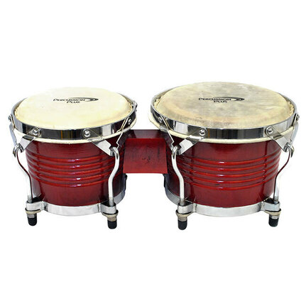 "Percussion Plus Deluxe 6 & 7"" Wooden Bongos in Gloss Red"
