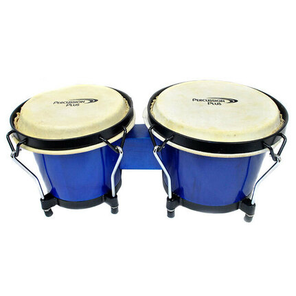 "Percussion Plus 6 & 6-3/4"" Wooden Bongos in Gloss Blue"