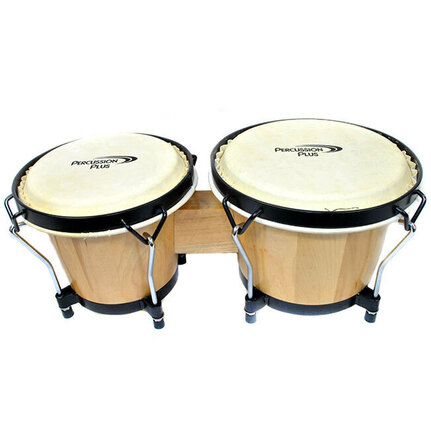 "Percussion Plus 6 & 6-3/4"" Wooden Bongos in Gloss Natural"