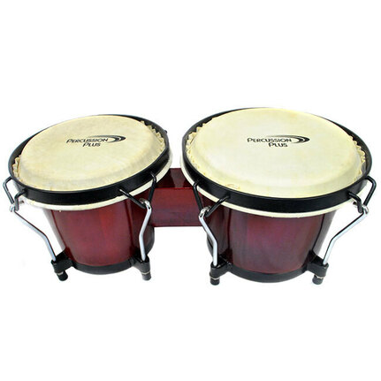 "Percussion Plus 6 & 6-3/4"" Wooden Bongos in Gloss Red"
