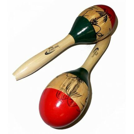 Percussion Plus Wooden Maracas in 3-Tone & Patterned